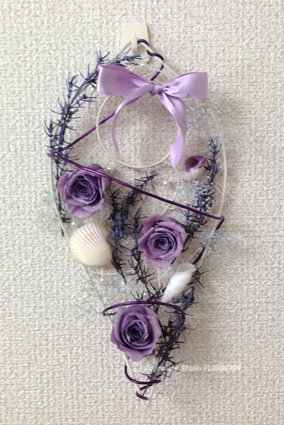 プリザーブドフラワー 壁飾り 紫