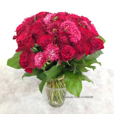 花束 還暦祝い バラ アスター