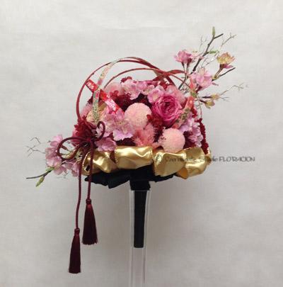 プリザーブドフラワー 造花 和風 手作りブーケ 桜 ピンポンマム