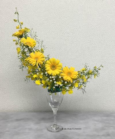 フラワーアレンジメント 生花 ワイングラス クレッセント