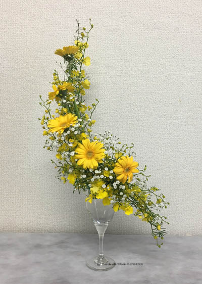 フラワーアレンジメント 生花 ワイングラス マーメイド