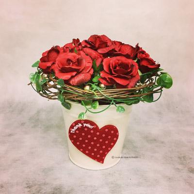 フラワーアレンジメント アーティフィシャルフラワー(造花) バレンタイン