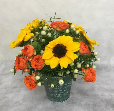 夏のフラワーアレンジメント フラワー教室 大阪 生花 ヒマワリ